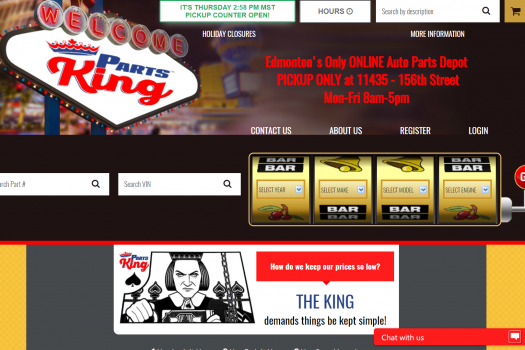 Parts King Homepage